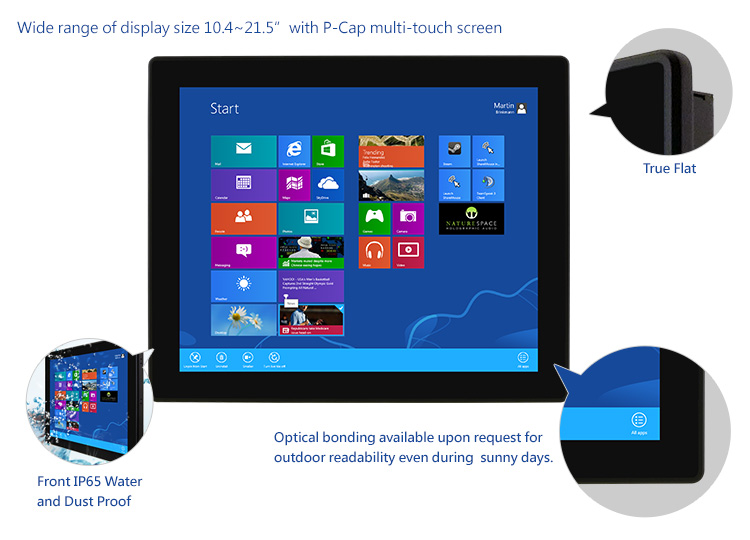 "Wide range of display size 10.4~21.5"" with P-Cap multi-touch screen"