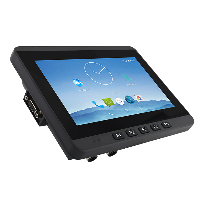 7-inch Vehicle Mounted Computer FM07A 45 Degree Angle View with Programmable Function Keys